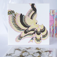 Eagle and Floral Pattern Ceramic Tile Trivet with Cork Backing