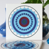 Blue Concentric Circle Pattern Ceramic Tile Trivet with Cork Backing