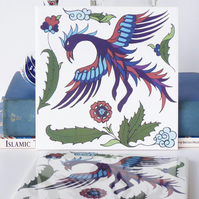 Persian Inspired Mythical Simurgh Bird and Floral Design Ceramic Tile Trivet