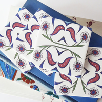 4 x Ottoman Inspired Floral Pattern Ceramic Tile Coasters with Cork Backing
