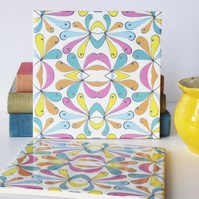 Multicoloured Petal Design Ceramic Tile Trivet with Cork Backing