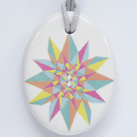 Multicoloured Geometric Star Ceramic Pendant on Grey Cord with Lobster Clasp