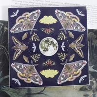 Full Moon and British Moths Design Ceramic Tile Trivet with Cork Backing