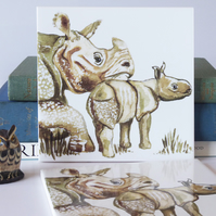 Mother and Baby One Horned Rhinoceros Ceramic Tile Trivet with Cork Backing
