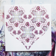 Exotic Flower Heart Shape Geometric Design Ceramic Tile Trivet with Cork Backing