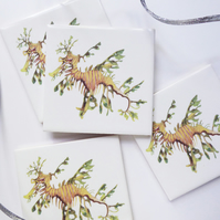4 x Leafy Seadragon Artwork Ceramic Tile Coasters with Cork Backing