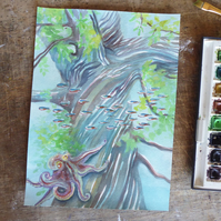 Fantastical Underwater Tree Watercolour Painting on Paper, 21.5 x 29.7cm