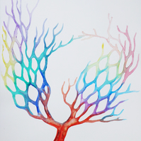 Tree of Life Abstract Watercolour Painting on Paper, 29.5 x 38cm