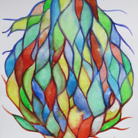 Tree of Life Abstract Watercolour Painting on Paper, 29.7 x 42cm