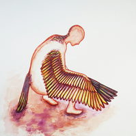 Winged Human Watercolour Painting on Paper, 31.2 x 40.6cm