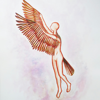 Hovering Winged Human Watercolour Painting on Paper, 40.6 x 50.8cm