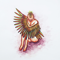Crouching Winged Human Watercolour Painting on Paper, 29.7 x 42cm