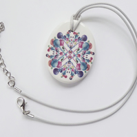 Multicoloured Bubble Pattern Ceramic Pendant on Grey Cord with Lobster Clasp