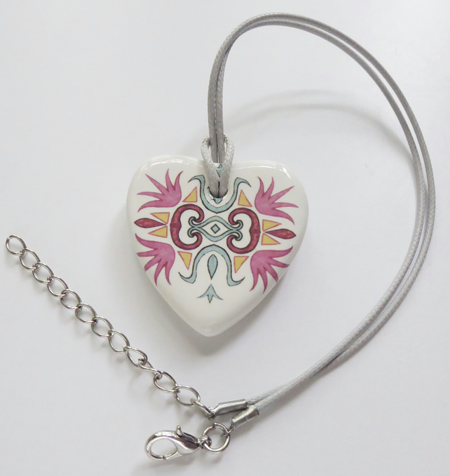 Ornate Pattern Heart Shaped Ceramic Pendant on Grey Cord with Lobster Clasp