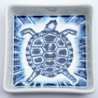 Dark Blue Tortoise Design Ceramic Dish, 10 x 10cm, Many Uses