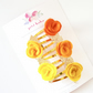 Rose Hair Clip Set of Five - Mini Rose in INDIAN MARIGOLD colours