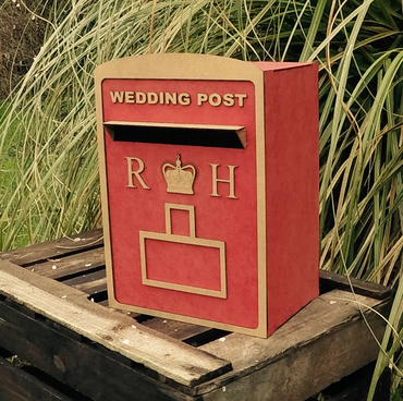 Wedding post box Royal Mail flat packed mdf wood card guest book personalised