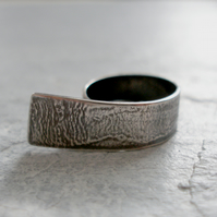 Sterling Silver Textured Effect Ring with Overhang, Hallmarked  - Size L