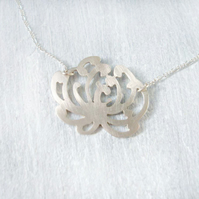 Sterling Silver Chrysanthemum Flower Necklace - November Birthday - EcoSilver