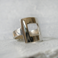 Square Ring - Handcrafted Sterling Silver Square Ring - Ready to Ship