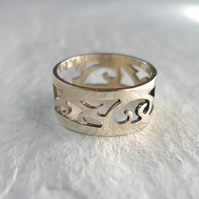 Sterling Silver Ring, Ornate Band  - Size 0 - Ready To Ship
