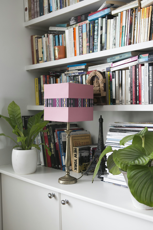 Pink lampshade handmade using cotton & polyester,  table lamp shade