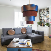 African Print lampshade, Electric blue and mocha fringe ceiling lampshade