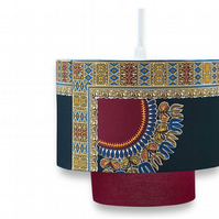 Burgundy and black handmade lampshade