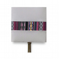 Grey square handmade lampshade
