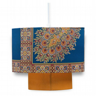 Blue and mustard handmade lampshade