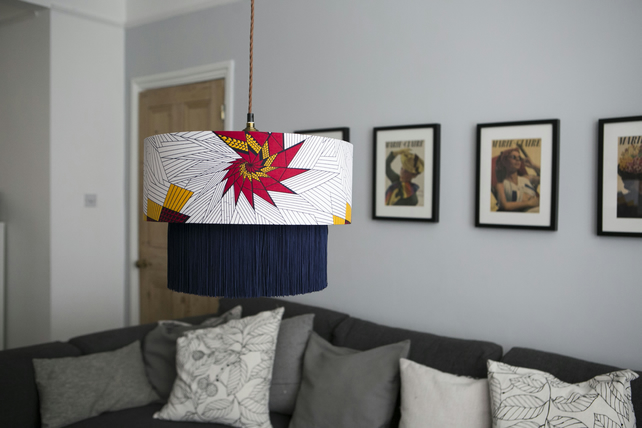 Red and Yellow Star Lampshade, African inspired fringe light