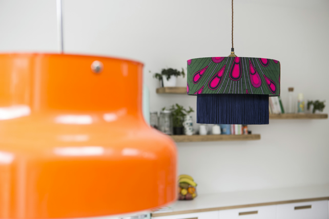 Pink Peacock Lampshade, Emerald green pendant light