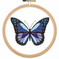 Butterfly, Moth, Blue, purple and black, cross stitch pattern