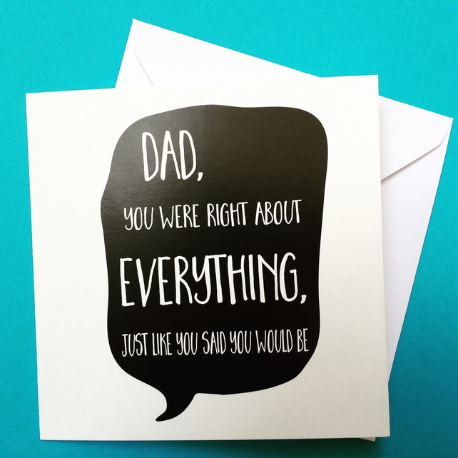 Funny Birthday Card For Dads Bad Dad Jokes Funny Card For: Dad Birthday Card, Dad's Always Right Birthday ...