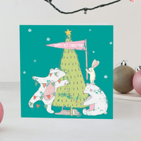first christmas baby card, 1st christmas card, polar bear christmas card