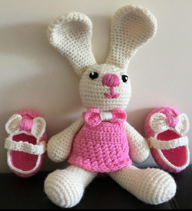 Baby's Pink & Cream Rabbit Crochet soft toy with matching shoes.