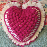Large heart shaped crochet Cushion Pillow in various colours