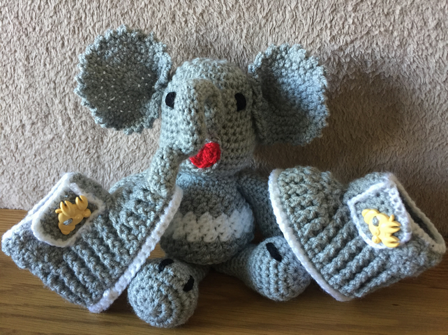 Big eared laughing amigurumi elephant and matching boots for a baby boy.