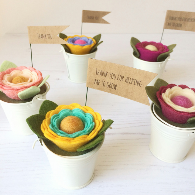 Teacher Thank You Present - mini felt flower pot - 'Thank You' message