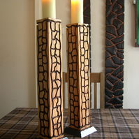 A Pair of Floor Standing Candle Holders X2 Church Candles Included