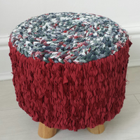 Handcrafted Funky Footstool Crochet Rag Rug Woven Peg Loom Covered Round Pouffe
