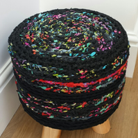 Handcrafted Funky Footstool Crochet Rag Rug  Covered Round Pouffe