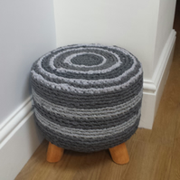 Handcrafted Funky Footstool Crochet Rag Rug  Covered Round Pouffe Grey