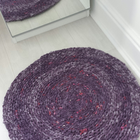Handmade Crochet Round Rag Rug Cotton Eco Gift  Purple Lilac Pink Washable Mat