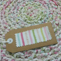Handmade Crochet Round Rag Rug Cotton Eco Pastel Pink Blue Girls Bedroom
