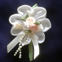 Wedding, occasion white satin corsage