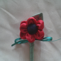 Little red flower brooch, buttonhole