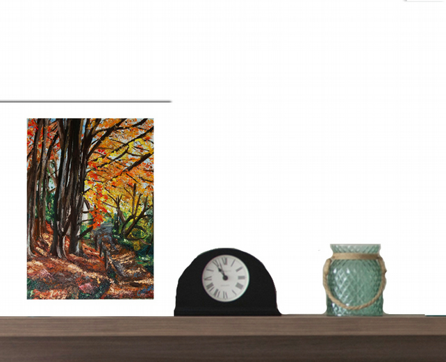 Giclee print of a woodland walk capturing autumn shades of nature