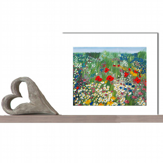 Floral Treasure Giclee Print by Catherine Bhogal of Poppies, Daisies in a meadow