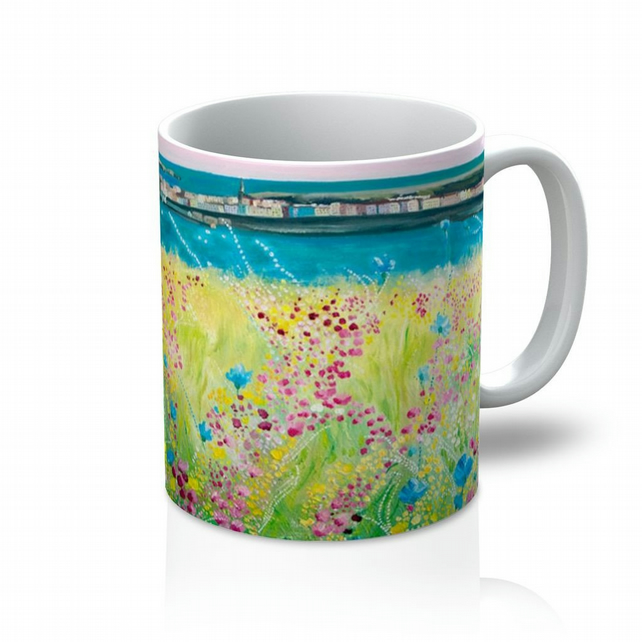 Colourful stocking filler floral landsacpe ceramic mug british made